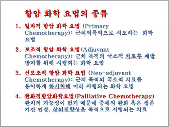 항암화학요법의 종류