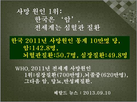 2011년 한국 사망원인에 대한 통계